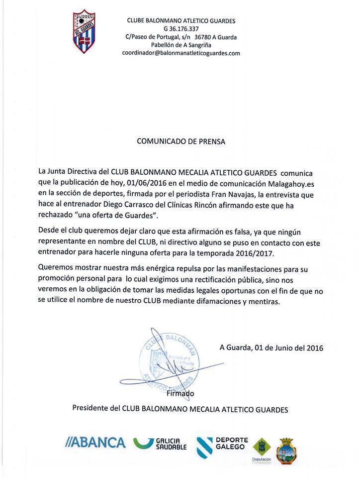 Comunicado del Mecalia Atlético Guardés.