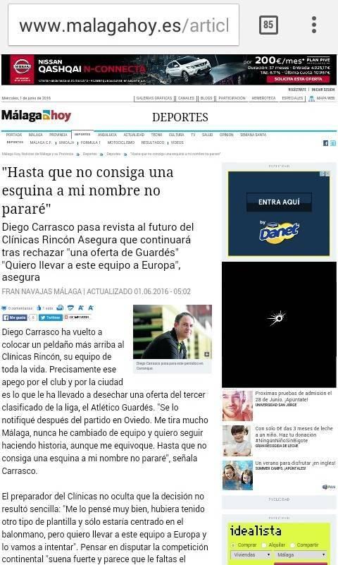 Captura de la entrevista de 'Málaga Hoy' a Diego Carrasco.